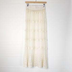 Gypsy Junkies Cream Lace Maxi Long Skirt Layering